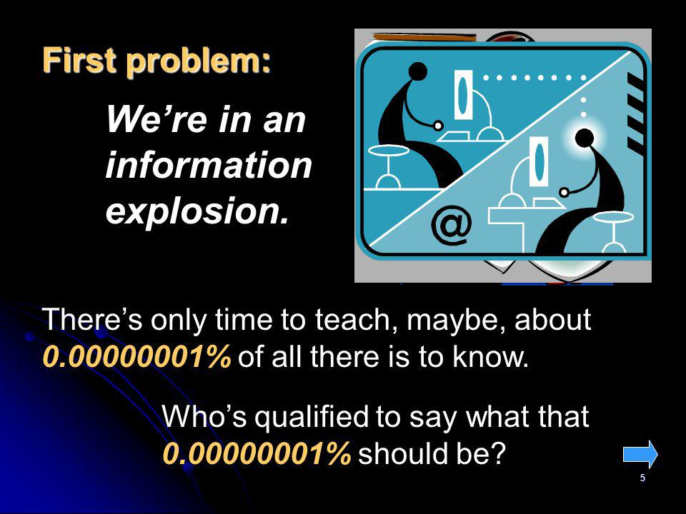 5 First problem: Were in an information explosion.