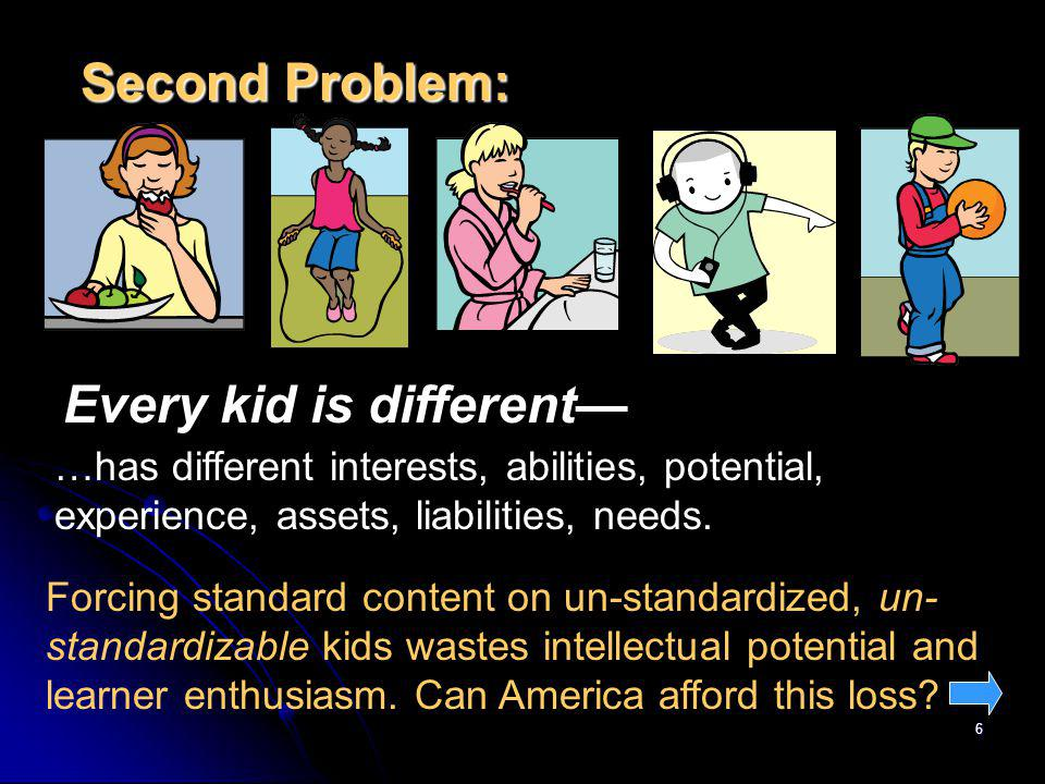 6 Second Problem: Every kid is different …has different interests, abilities, potential, experience, assets, liabilities, needs. Forcing standard cont