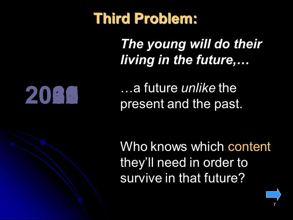 7 201120122015202020302060 …a future unlike the present and the past. Third Problem: The young will do their living in the future,… Who knows which co