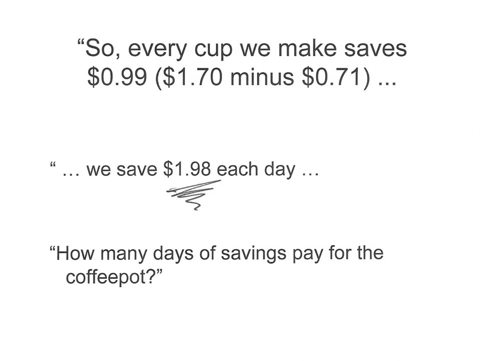 … we save $1.98 each day … How many days of savings pay for the coffeepot