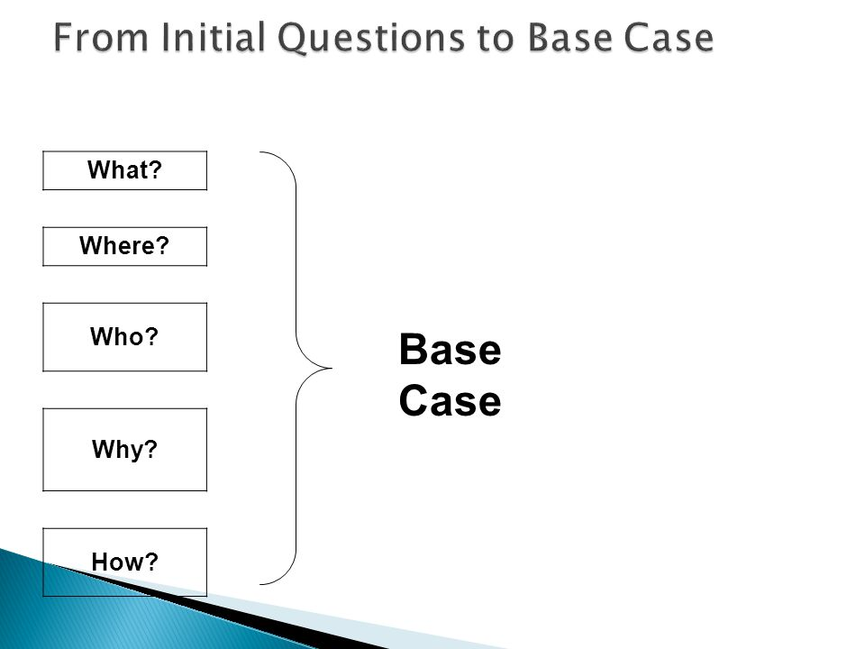What Where Who Why How Base Case