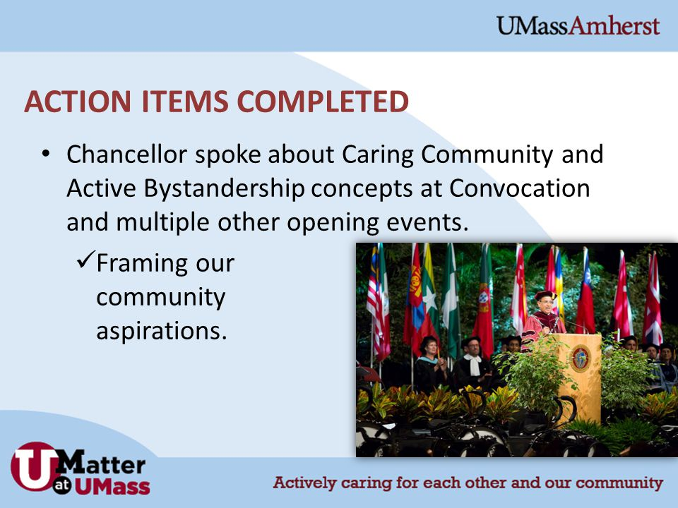 ACTION ITEMS COMPLETED Chancellor spoke about Caring Community and Active Bystandership concepts at Convocation and multiple other opening events.