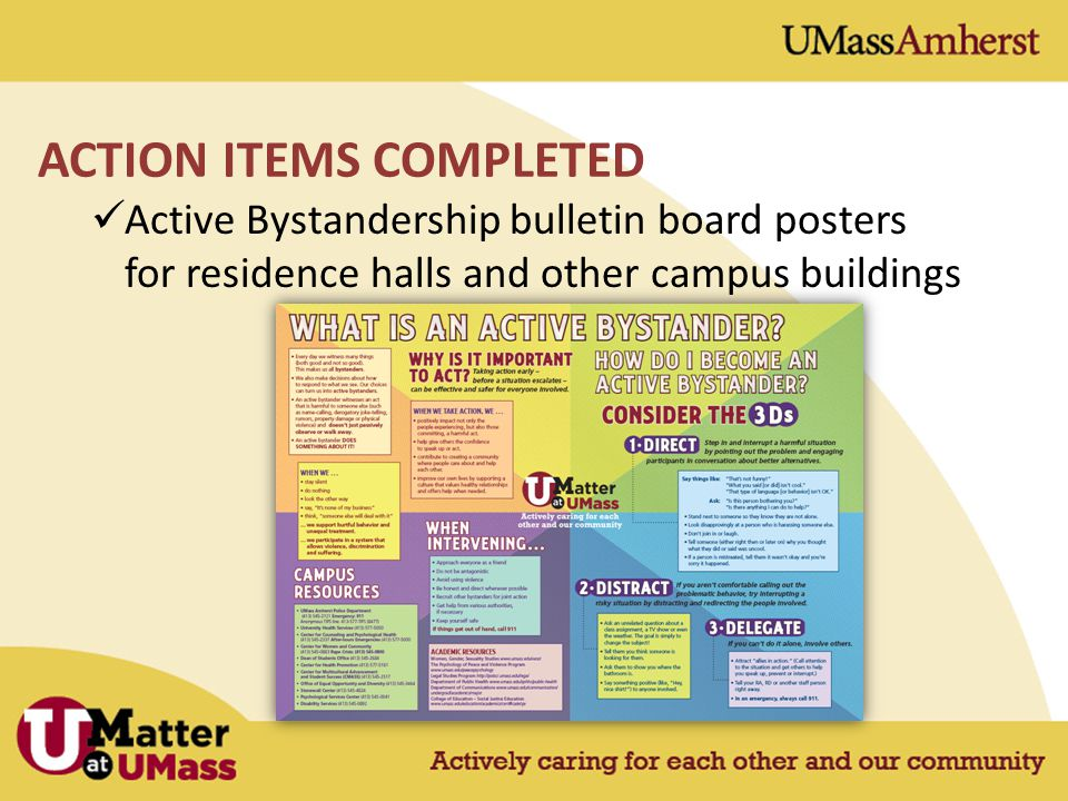 Active Bystandership bulletin board posters for residence halls and other campus buildings ACTION ITEMS COMPLETED