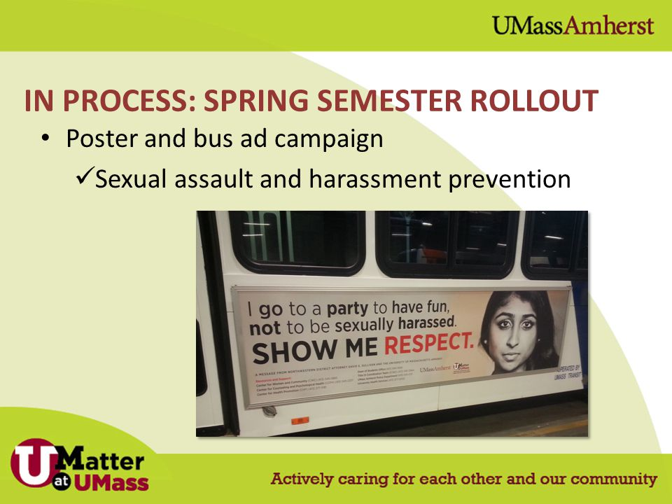 Poster and bus ad campaign Sexual assault and harassment prevention