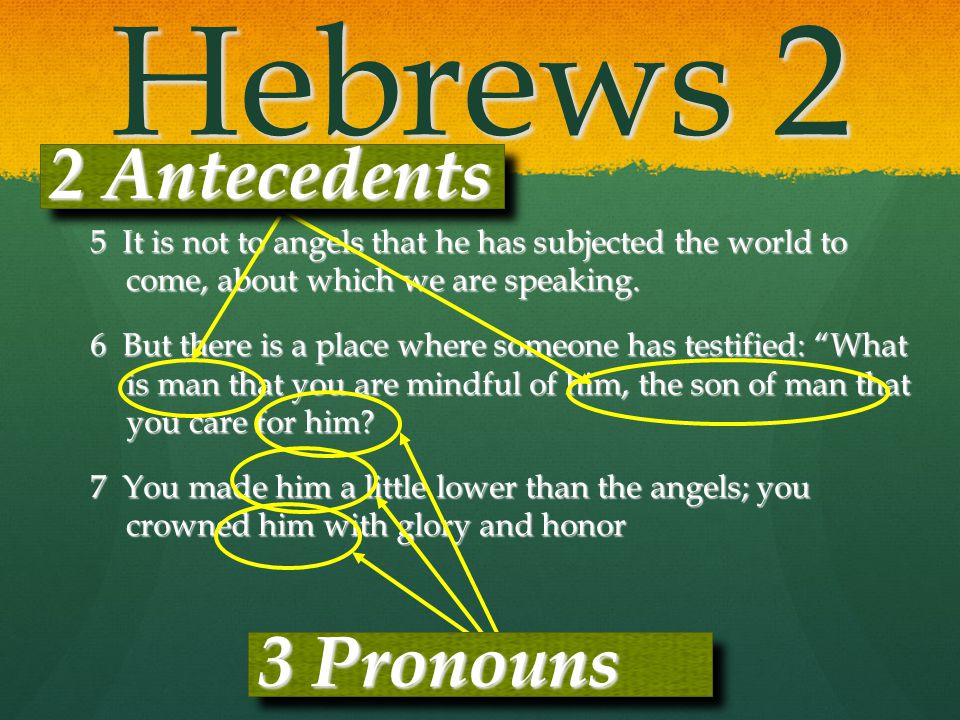 Hebrews 2 5 It is not to angels that he has subjected the world to come, about which we are speaking. 6 But there is a place where someone has testifi