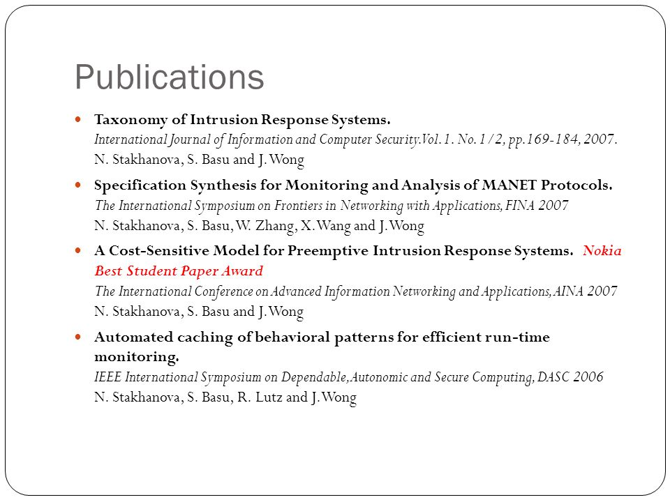 Publications Taxonomy of Intrusion Response Systems.