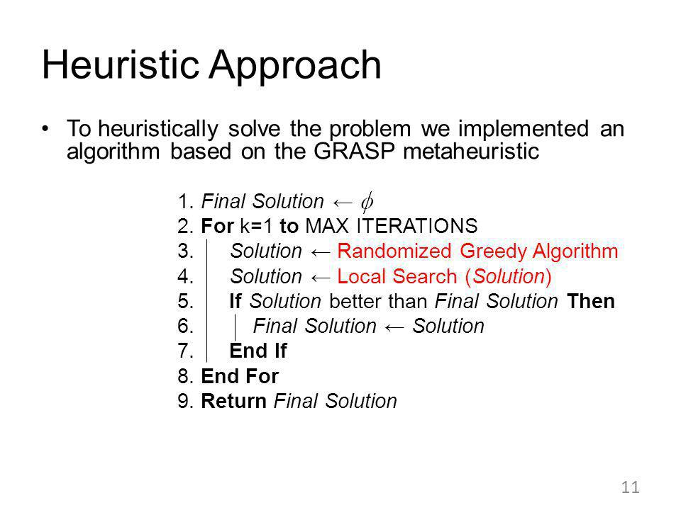 Heuristic Approach To heuristically solve the problem we implemented an algorithm based on the GRASP metaheuristic 1.