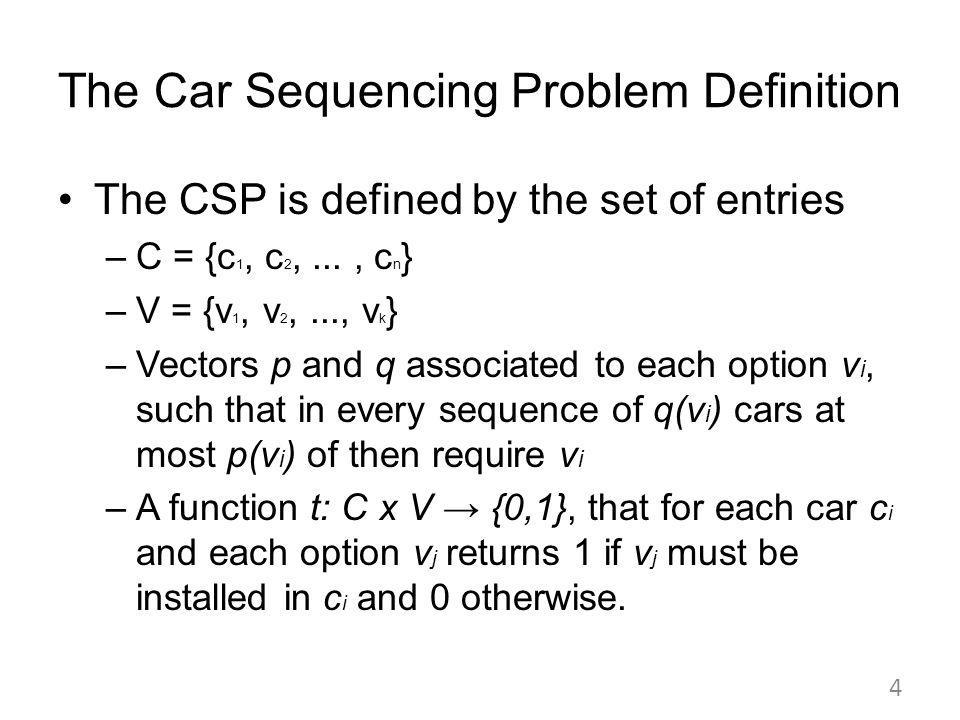 The Car Sequencing Problem Definition The CSP is defined by the set of entries –C = {c 1, c 2,..., c n } –V = {v 1, v 2,..., v k } –Vectors p and q associated to each option v i, such that in every sequence of q(v i ) cars at most p(v i ) of then require v i –A function t: C x V {0,1}, that for each car c i and each option v j returns 1 if v j must be installed in c i and 0 otherwise.