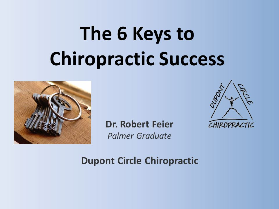 The 6 Keys to Chiropractic Success Dr. Robert Feier Palmer Graduate Dupont Circle Chiropractic
