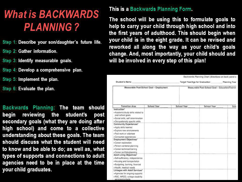 What is BACKWARDS PLANNING . Step 1: Describe your son/daughters future life.