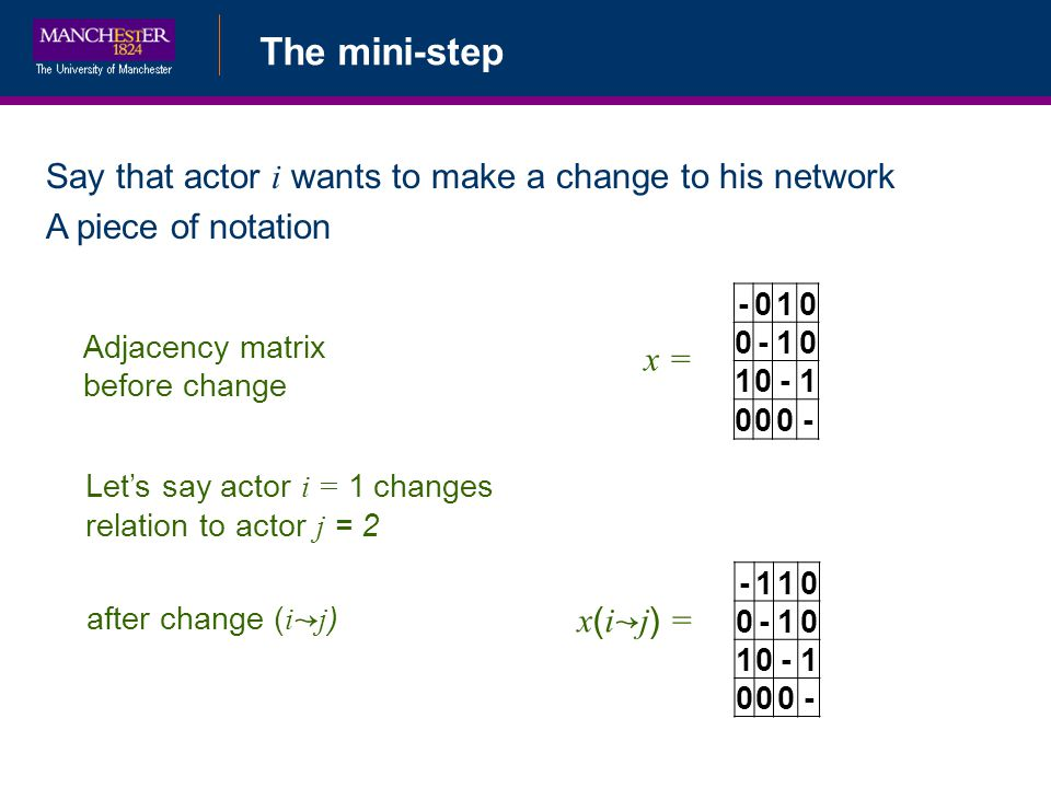 The mini-step Say that actor i wants to make a change to his network A piece of notation Adjacency matrix before change -010 0-10 10-1 000- x = after change ( i j ) x ( i j ) = -110 0-10 10-1 000- Lets say actor i = 1 changes relation to actor j = 2