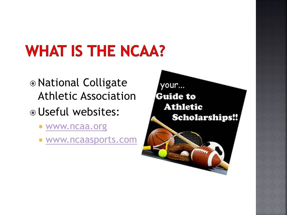 National Colligate Athletic Association Useful websites: www.ncaa.org www.ncaasports.com