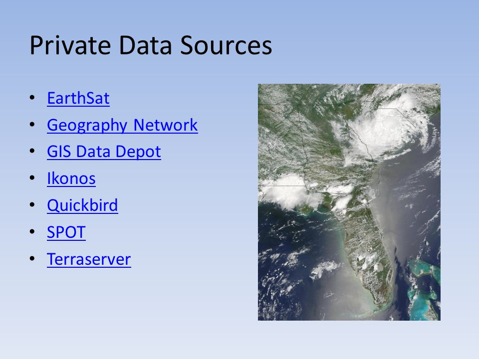 Private Data Sources EarthSat Geography Network GIS Data Depot Ikonos Quickbird SPOT Terraserver