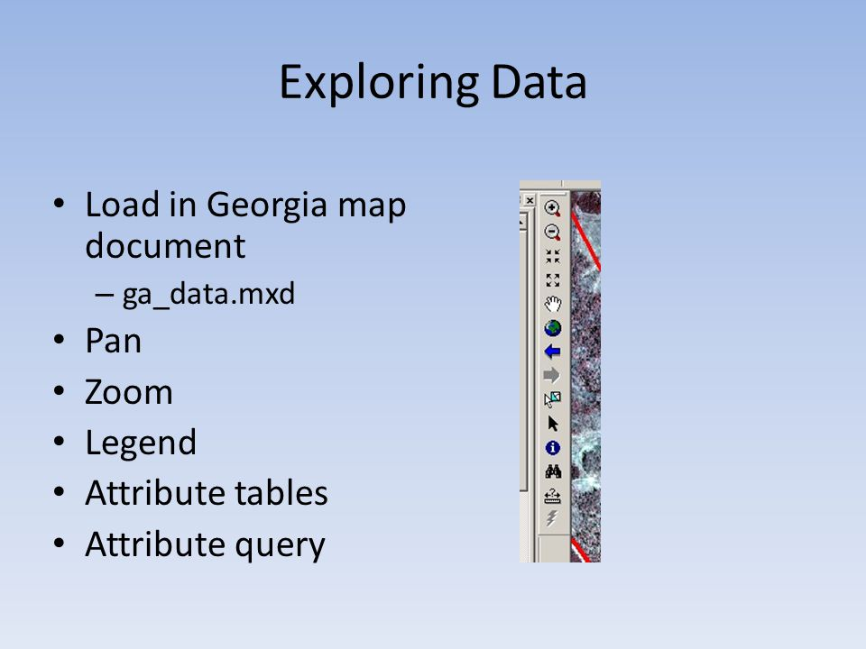 Exploring Data Load in Georgia map document – ga_data.mxd Pan Zoom Legend Attribute tables Attribute query