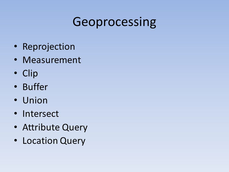 Geoprocessing Reprojection Measurement Clip Buffer Union Intersect Attribute Query Location Query