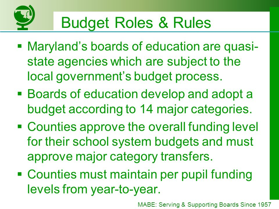MABE: Serving & Supporting Boards Since 1957 Budget Roles & Rules Marylands boards of education are quasi- state agencies which are subject to the local governments budget process.