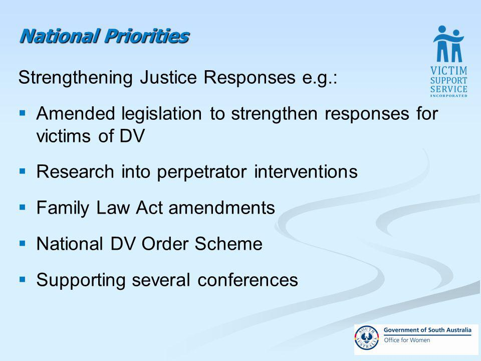 National Priorities Strengthening Justice Responses e.g.: Amended legislation to strengthen responses for victims of DV Research into perpetrator interventions Family Law Act amendments National DV Order Scheme Supporting several conferences