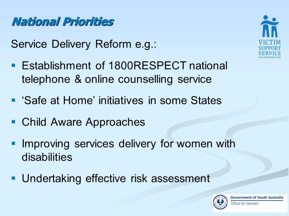 National Priorities Service Delivery Reform e.g.: Establishment of 1800RESPECT national telephone & online counselling service Safe at Home initiatives in some States Child Aware Approaches Improving services delivery for women with disabilities Undertaking effective risk assessment