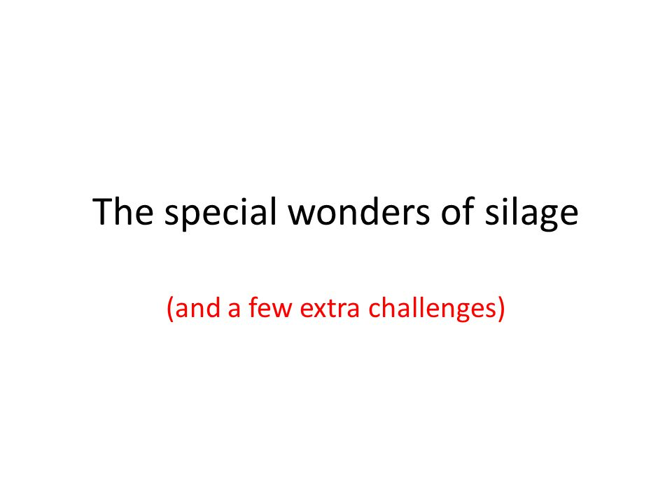 The special wonders of silage (and a few extra challenges)