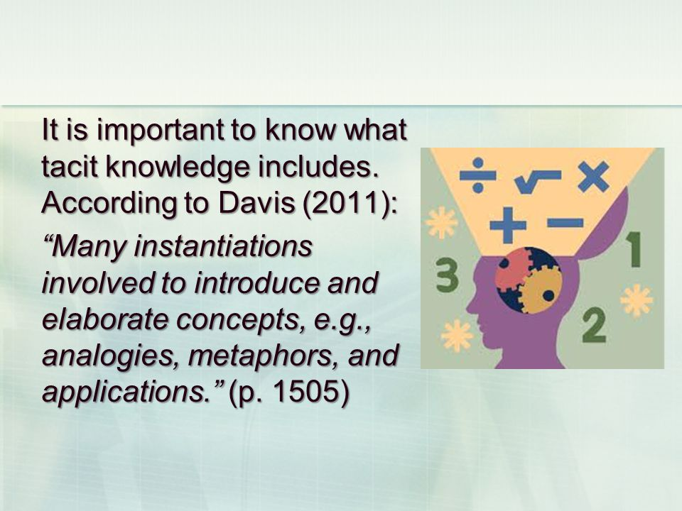 It is important to know what tacit knowledge includes.