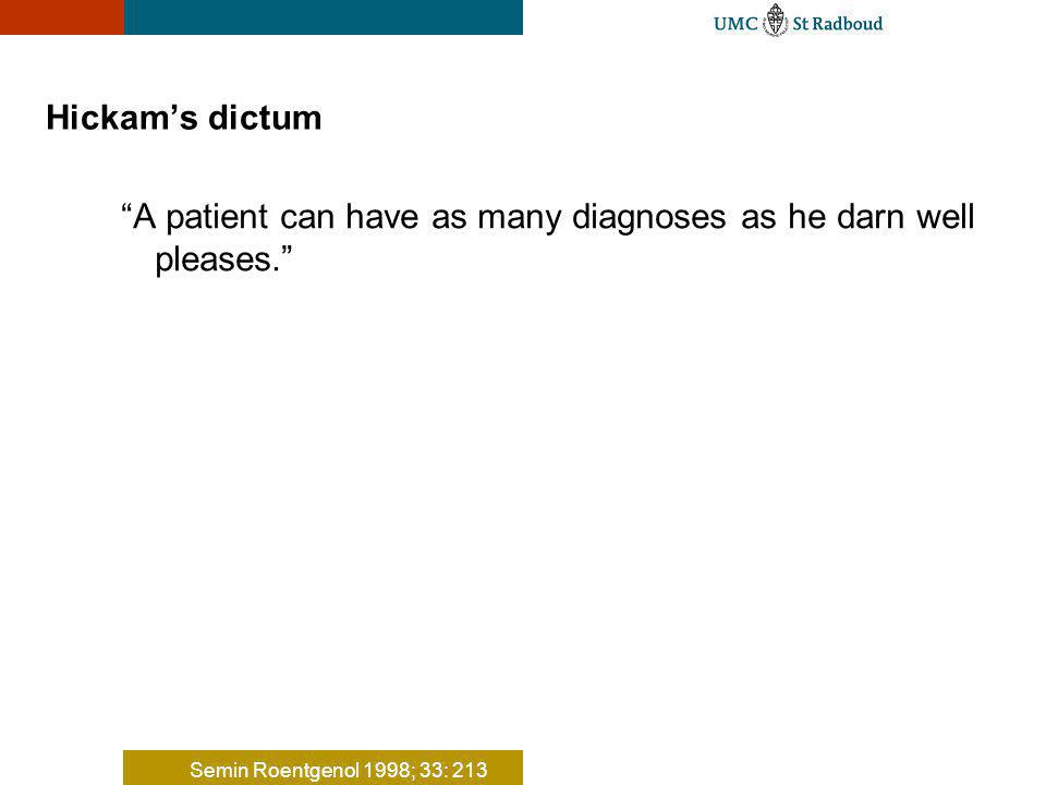 Hickams dictum A patient can have as many diagnoses as he darn well pleases. Semin Roentgenol 1998; 33: 213