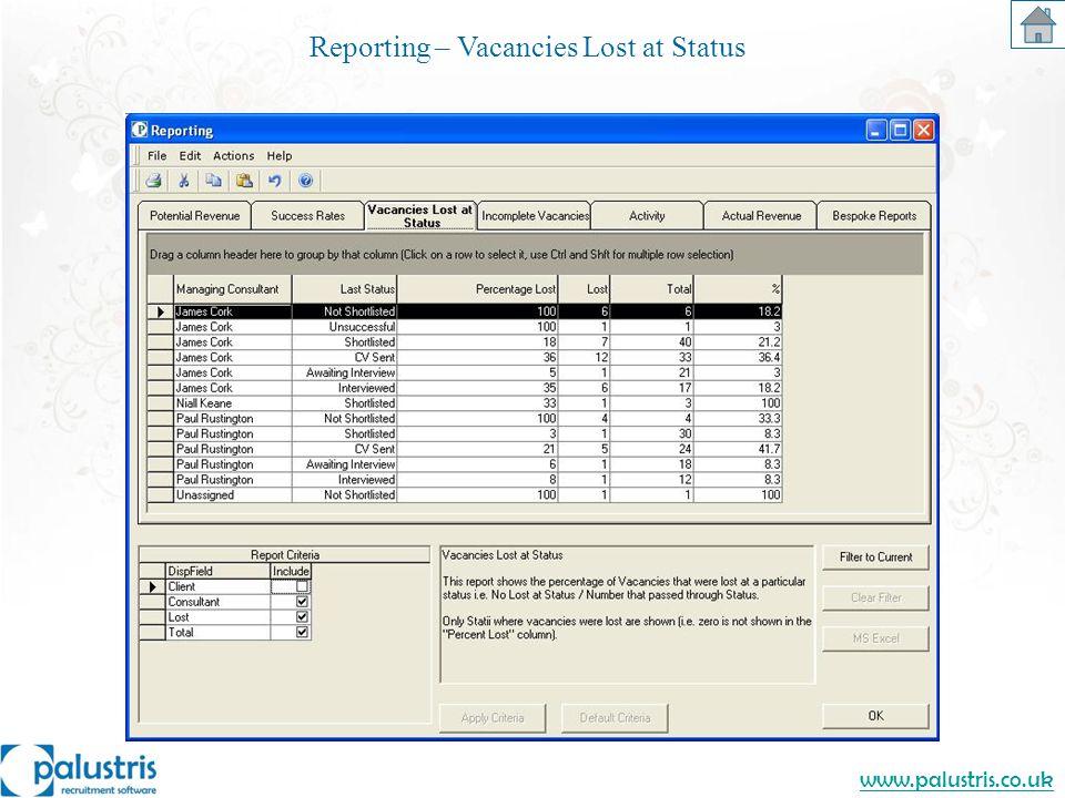 www.palustris.co.uk Reporting – Vacancies Lost at Status