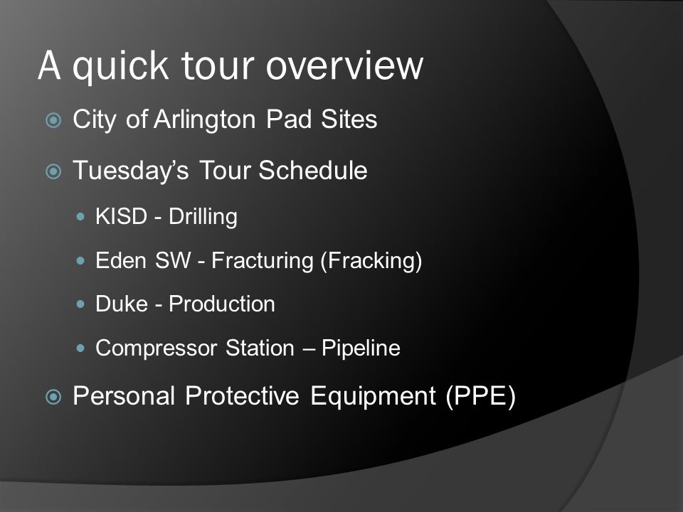 Operators in 64 Pad Sites 367 Well heads Applications pending Chesapeake Energy XTO Energy Carrizo Oil and Gas Vantage Energy Legend Resources Titan Operating Quicksilver Resources Pad Sites in