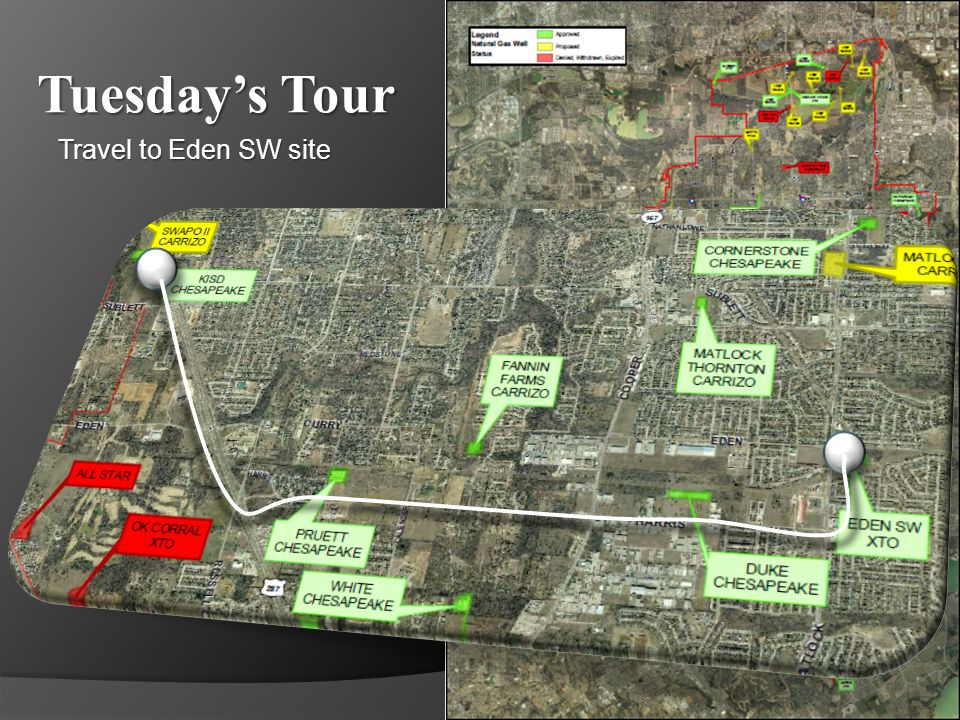 Tuesdays Tour XTO – Eden SW Fracturing (Fracking) A highly visible pad site, Eden SW is located to the east of two major thoroughfares; Cooper and Matlock.