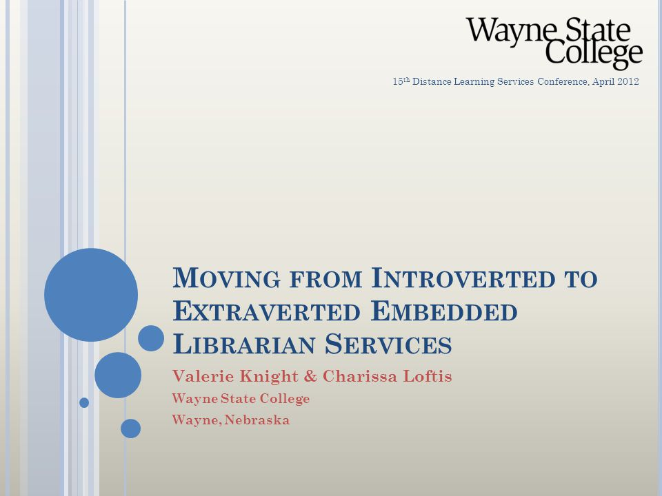 M OVING FROM I NTROVERTED TO E XTRAVERTED E MBEDDED L IBRARIAN S ERVICES Valerie Knight & Charissa Loftis Wayne State College Wayne, Nebraska 15 th Distance Learning Services Conference, April 2012