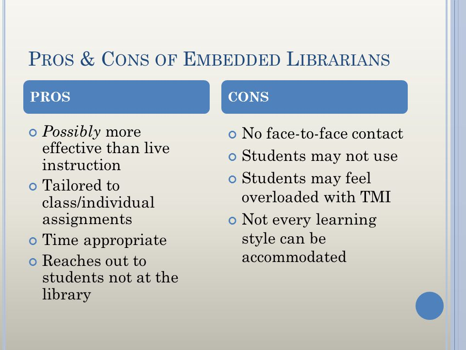 P ROS & C ONS OF E MBEDDED L IBRARIANS Possibly more effective than live instruction Tailored to class/individual assignments Time appropriate Reaches out to students not at the library No face-to-face contact Students may not use Students may feel overloaded with TMI Not every learning style can be accommodated PROSCONS