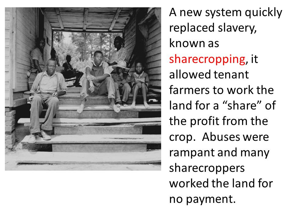 A new system quickly replaced slavery, known as sharecropping, it allowed tenant farmers to work the land for a share of the profit from the crop.