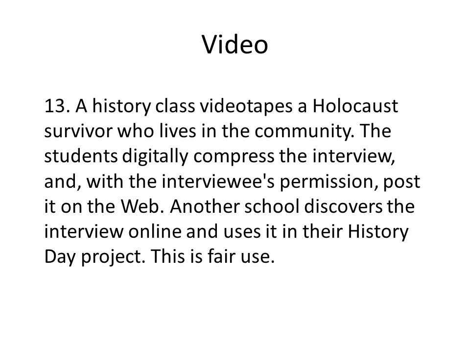Video 13. A history class videotapes a Holocaust survivor who lives in the community.