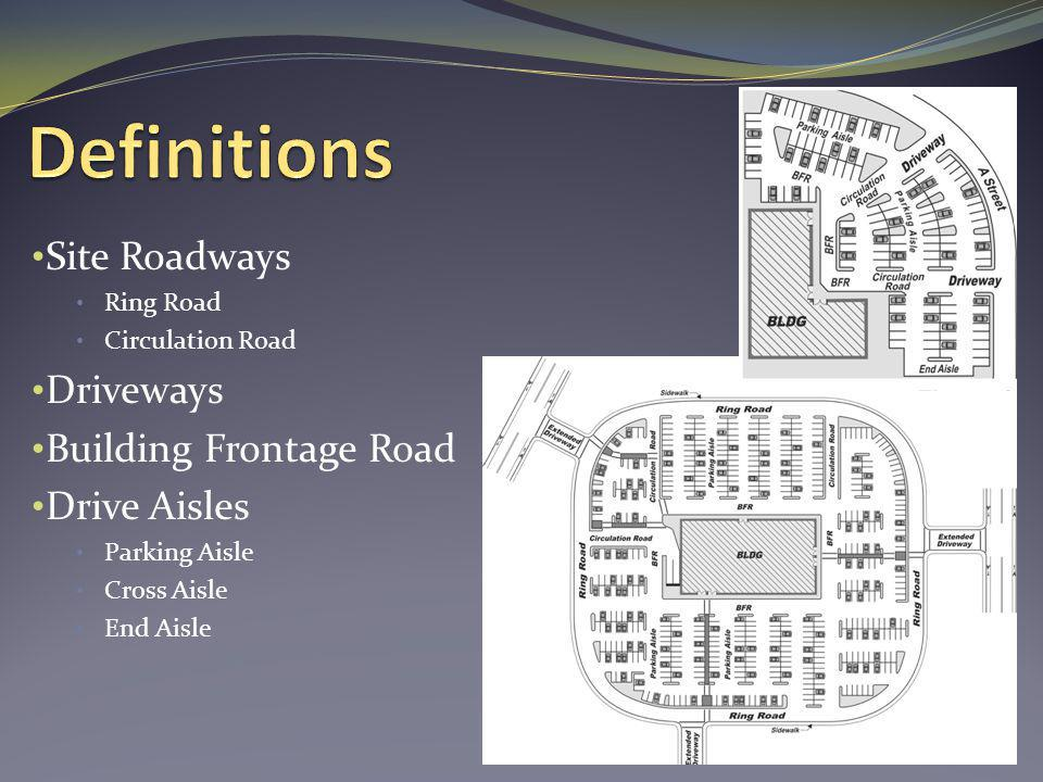 Site Roadways Ring Road Circulation Road Driveways Building Frontage Road Drive Aisles Parking Aisle Cross Aisle End Aisle