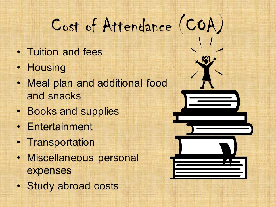Cost of Attendance (COA) Tuition and fees Housing Meal plan and additional food and snacks Books and supplies Entertainment Transportation Miscellaneo