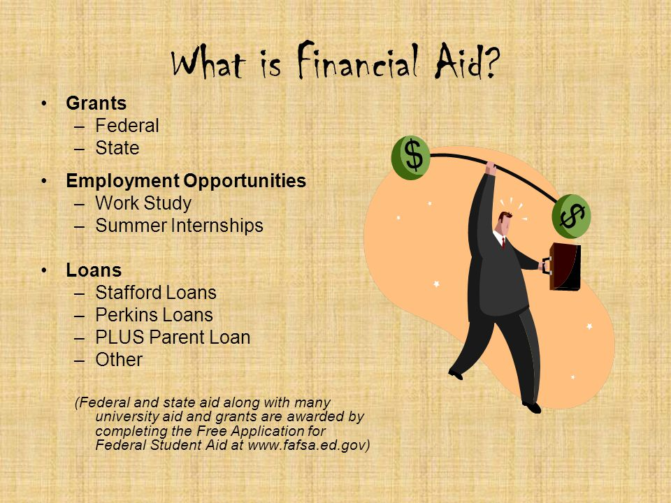 Grants –F–Federal –S–State Employment Opportunities –W–Work Study –S–Summer Internships Loans –S–Stafford Loans –P–Perkins Loans –P–PLUS Parent Loan –