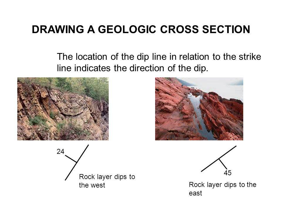 DRAWING A GEOLOGIC CROSS SECTION The location of the dip line in relation to the strike line indicates the direction of the dip. 45 Rock layer dips to