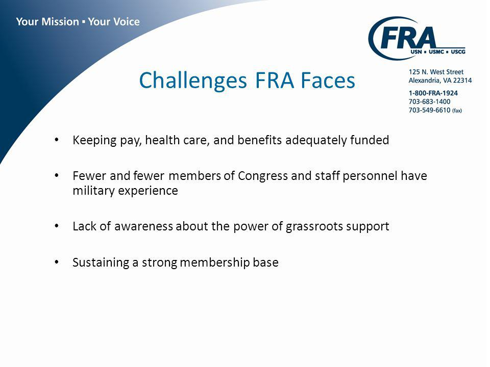 Challenges FRA Faces Keeping pay, health care, and benefits adequately funded Fewer and fewer members of Congress and staff personnel have military ex
