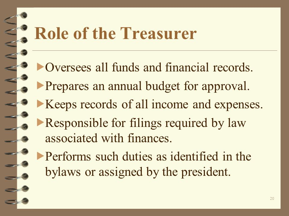 20 Role of the Treasurer Oversees all funds and financial records.