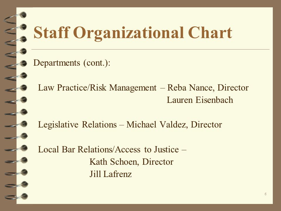 6 Staff Organizational Chart Departments (cont.): Law Practice/Risk Management – Reba Nance, Director Lauren Eisenbach Legislative Relations – Michael Valdez, Director Local Bar Relations/Access to Justice – Kath Schoen, Director Jill Lafrenz