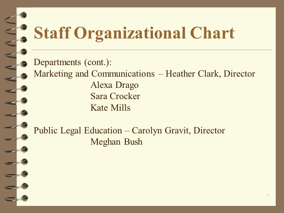 7 Staff Organizational Chart Departments (cont.): Marketing and Communications – Heather Clark, Director Alexa Drago Sara Crocker Kate Mills Public Legal Education – Carolyn Gravit, Director Meghan Bush