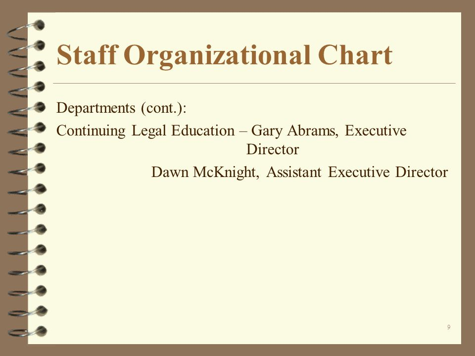 9 Staff Organizational Chart Departments (cont.): Continuing Legal Education – Gary Abrams, Executive Director Dawn McKnight, Assistant Executive Director