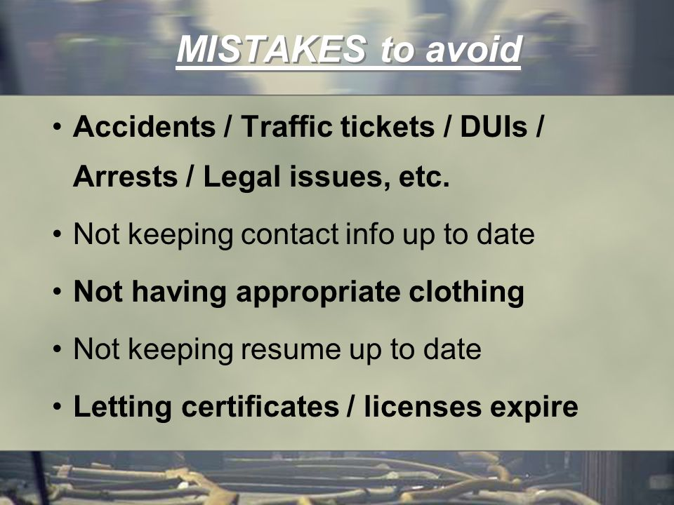MISTAKES to avoid Accidents / Traffic tickets / DUIs / Arrests / Legal issues, etc.