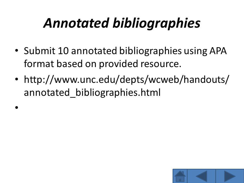 Annotated bibliographies Submit 10 annotated bibliographies using APA format based on provided resource.