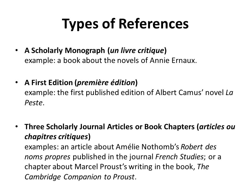 Types of References A Scholarly Monograph (un livre critique) example: a book about the novels of Annie Ernaux.