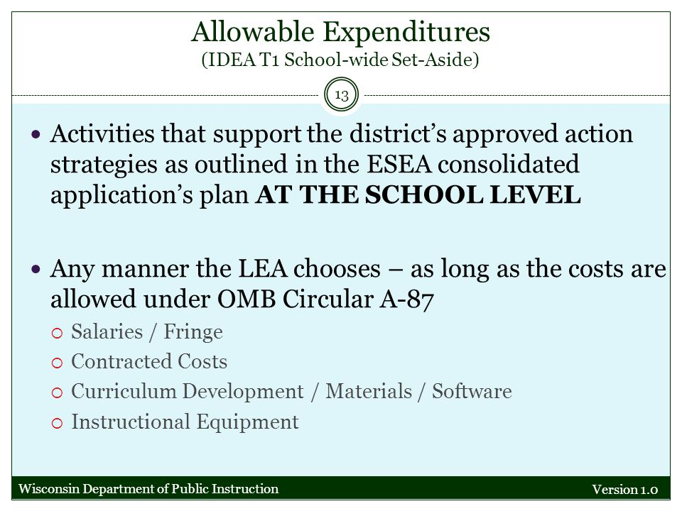 Allowable Expenditures (IDEA T1 School-wide Set-Aside) Version 1.0 13 Activities that support the districts approved action strategies as outlined in the ESEA consolidated applications plan AT THE SCHOOL LEVEL Any manner the LEA chooses – as long as the costs are allowed under OMB Circular A-87 Salaries / Fringe Contracted Costs Curriculum Development / Materials / Software Instructional Equipment Wisconsin Department of Public Instruction