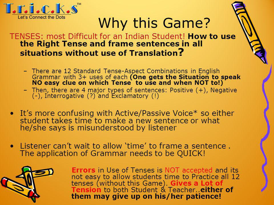 Why this Game. TENSES: most Difficult for an Indian Student.