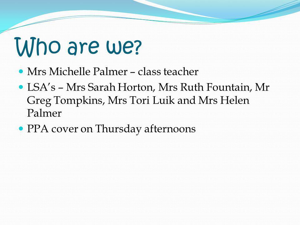 Who are we? Mrs Michelle Palmer – class teacher LSAs – Mrs Sarah Horton, Mrs Ruth Fountain, Mr Greg Tompkins, Mrs Tori Luik and Mrs Helen Palmer PPA c