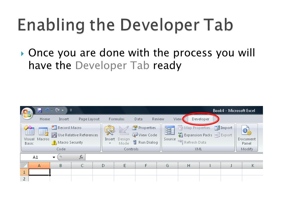 Once you are done with the process you will have the Developer Tab ready