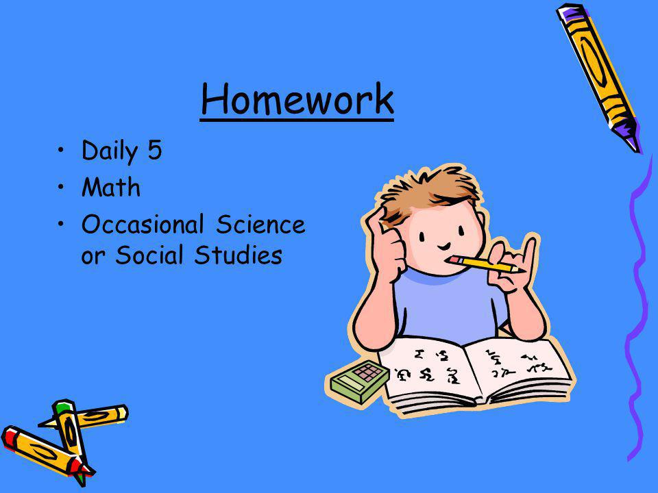 Homework Daily 5 Math Occasional Science or Social Studies