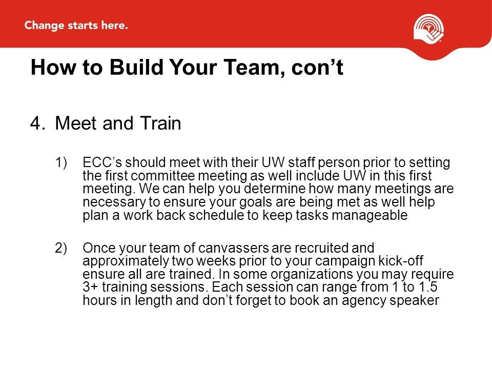How to Build Your Team, cont 4.Meet and Train 1)ECCs should meet with their UW staff person prior to setting the first committee meeting as well include UW in this first meeting.